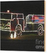 Christmas Fire Truck 2 Wood Print