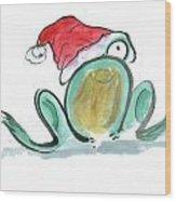 Christmas Frog Wood Print
