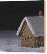Christmas Gingerbread Cottage At Night Wood Print