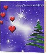 Christmas Hearts Wood Print