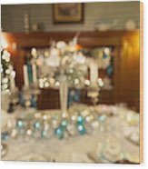 Christmas Holiday Dinner Table Decoration Blurred Wood Print