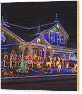 Christmas House Wood Print
