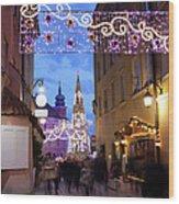 Christmas Illumination On Piwna Street In Warsaw Wood Print