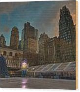 Christmas In Bryant Park Wood Print by Mike Horvath