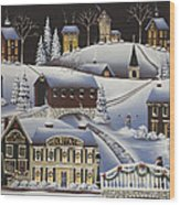 Christmas In Fox Creek Village Wood Print