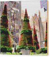 Christmas In New York City Wood Print