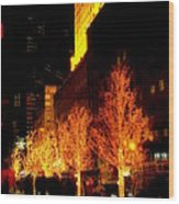 Christmas In New York - Trees And Star Wood Print
