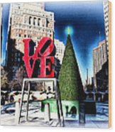 Christmas In Philadelphia Wood Print by Bill Cannon