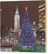 Christmas In Philadelphia Wood Print