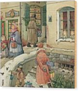 Christmas In The Town Wood Print