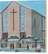 Christmas Mass At Saint Joseph's Church Wood Print