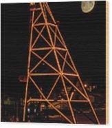 Christmas Moon Over Butte Headframe Wood Print