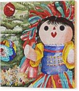 Christmas Muneca Wood Print