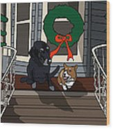 Christmas On The Front Porch Wood Print