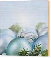 Christmas Ornaments On Blue Wood Print