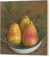 Christmas Pears In A Bowl Wood Print