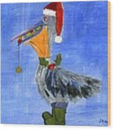 Christmas Pelican Wood Print