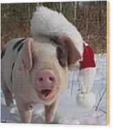 Christmas Pig Wood Print
