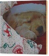 Christmas Pup Wood Print