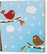 Christmas Red Cardinal Bird Pair Winter Scene Wood Print