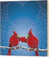Christmas Red Cardinal Twig Snowing Heart Wood Print by Frank Ramspott