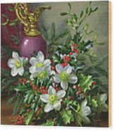 Christmas Roses Wood Print by Albert Williams