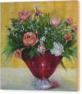 Christmas Roses In Cranberry Glass   Copyrighted Wood Print