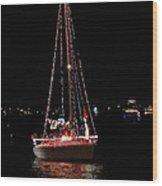 Christmas Sailboat Wood Print