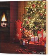 Christmas Scene With Tree And Fire In Background Wood Print