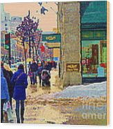 Christmas Shoppers Ogilvys Enchanted Village Window Display A Montreal Xmas Tradition Carole Spandau Wood Print