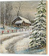 Christmas Snow Wood Print