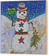 Christmas Snowman With Gifts Of Love Wood Print