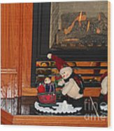 Christmas - Snowmen Collection- Fireplace Wood Print