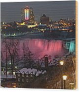 Christmas Spirit At Niagara Falls Wood Print