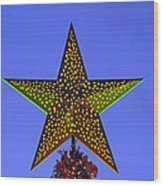 Christmas Star During Dusk Time Wood Print