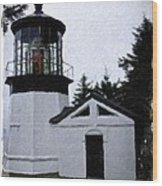 Christmas Time At Cape Meares Lighthouse Wood Print