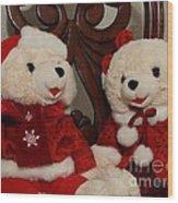 Christmas Time Bears Wood Print