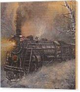 Christmas Train In Wisconsin Wood Print