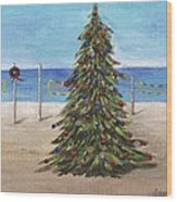 Christmas Tree At The Beach Wood Print
