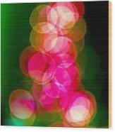 Christmas Tree Bokeh Background Wood Print