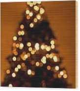 Christmas Tree Bokeh Wood Print