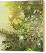 Christmas Tree Decorations With Sparkle Background Wood Print