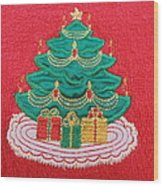Christmas Tree Embroidered Wood Print