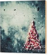 Christmas Tree Glowing On Winter Vintage Background Wood Print