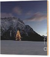 Christmas Tree In Front Of The Karwendel Wood Print