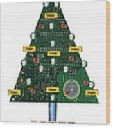 Christmas Tree Motherboard Wood Print by Mary Helmreich