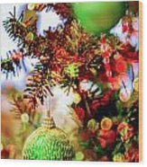 Christmas Tree Ornaments And Decorations Wood Print