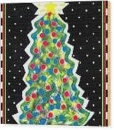 Christmas Tree Polkadots Wood Print