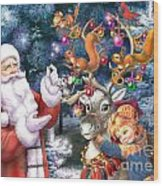 Christmas Tree-rudolph Wood Print