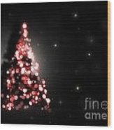 Christmas Tree Shining On Black Background Wood Print